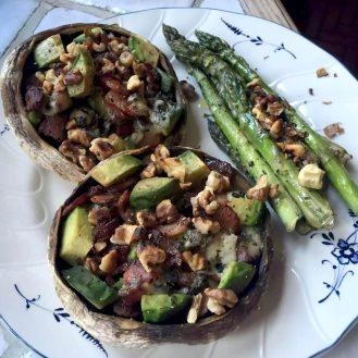Stuffed Mushrooms Portobello Bacon St Augur Blue Cheese Avocado Walnuts Asparagus Recipe