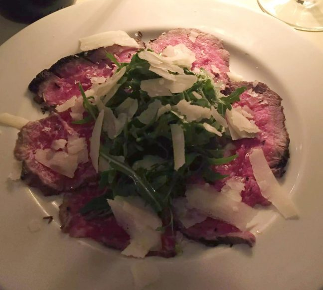 Beach Blanket Babylon Restaurant Notting Hill Birthday Dinner Tables Dining Room Cosy Romantic Beef Capaccio Rocket Parmesan