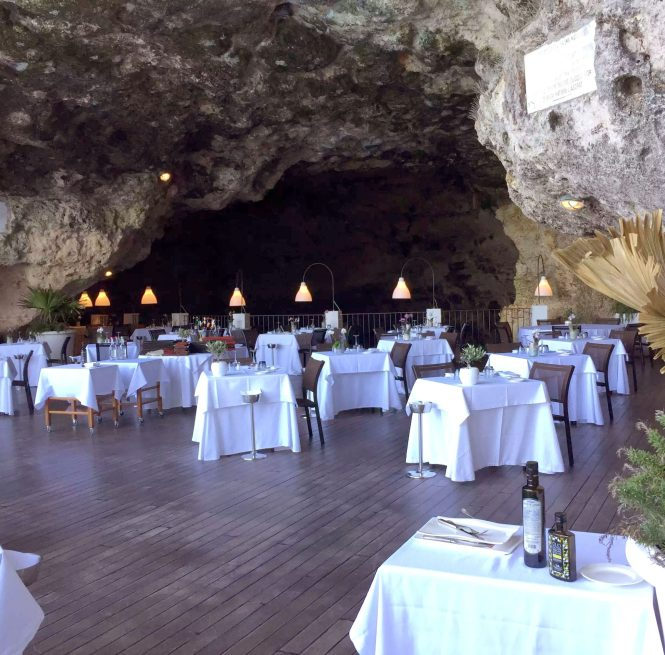 Polignano A Mare Puglia Italy Grotta Palazzese lunch Birthday Princess cave Restaurant View
