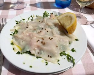 Taverna de Santos Torre Canne Puglia Italy Sunshine Sunbathing Beach Relax Restaurant Swordfish Carpaccio