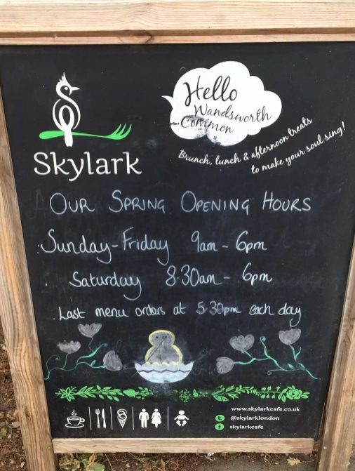 Skylark Cafe Restaurant Wandsworth Common Lunch Drinks Opening Hours