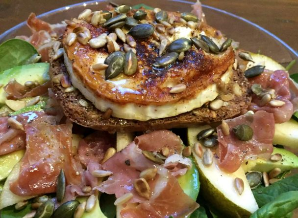Pear Prosciutto Goat's Cheese Salad Recipe Gluten Free Grain Free SCD Paleo Bread Nut Seeds Healthy Avocado Spinach Honey