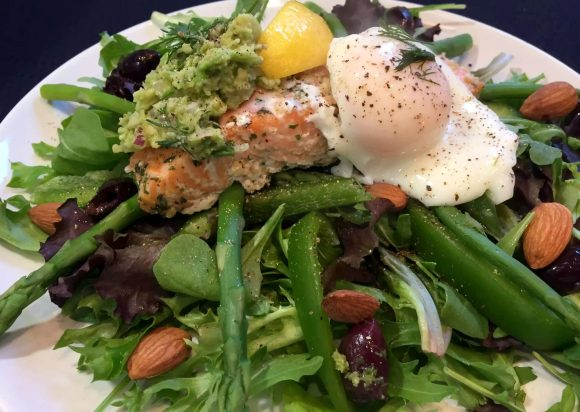 Salmon Nicoise Salad Poached Egg Dill Asparagus Almonds Olives Avocado Salsa