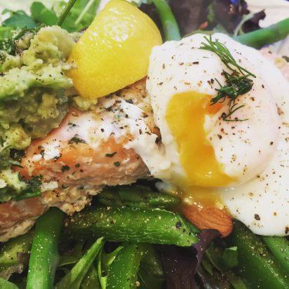 Salmon Nicoise Salad Poached Egg Dill Asparagus Almonds Olives Avocado Salsa