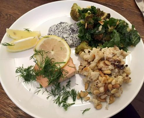 Salmon Dill Kale Broccoli Almonds Cauliflower Tahini Yoghurt Pine nuts