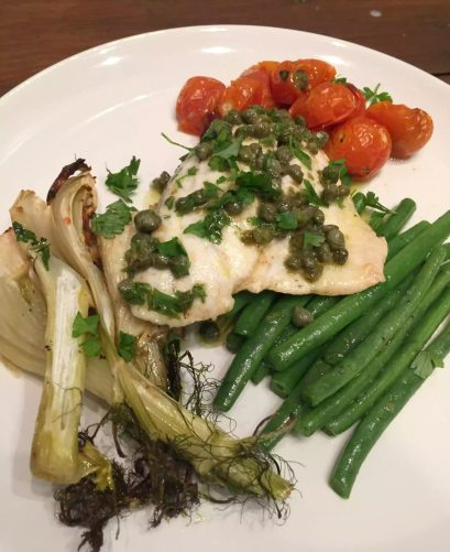Pan Fried Sea Bream in a Lemon Caper Butter Sauce - Fennel Tomatoes Green Beans SCD Paleo Grain-Free Gluten-Free Clean Eating