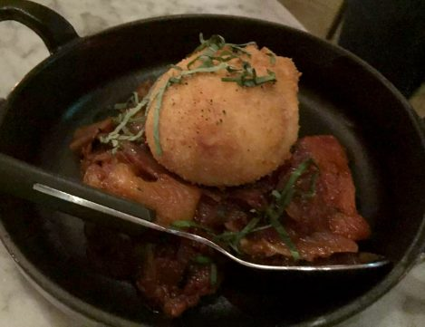 The Ninth Charlotte St Fitzrovia London Mediterranean Tapas Restaurant Jun Tanaka Crispy Egg Chorizo Ratatouille