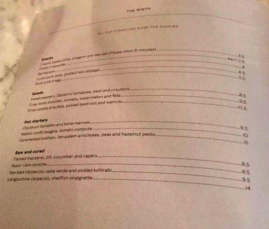 The Ninth Charlotte St Fitzrovia London Mediterranean Tapas Restaurant Jun Tanaka Menu