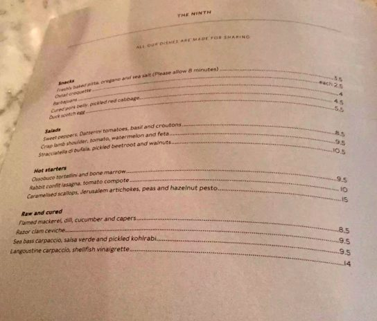 The Ninth Charlotte St Fitzrovia London Mediterranean Tapas Restaurant Jun Tanaka Menu