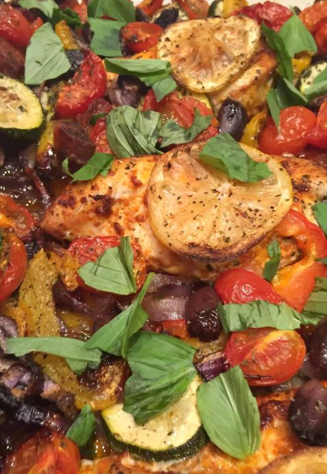Mediterranean Chicken & Chorizo Traybake with Roasted Vegetables Paprika and Olives - SCD, Paleo, Grain-Free, Gluten-Free, Dairy-Free, Refined Sugar-Free, Clean-Eating