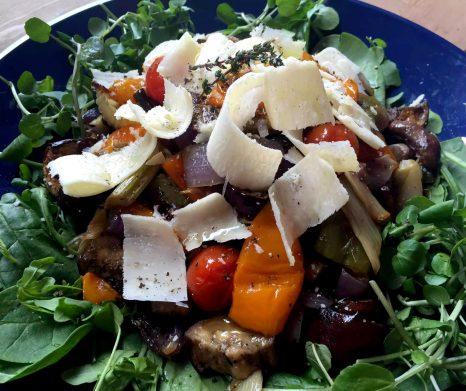 Thyme Roasted Vegetable Salad with Parmesan Shavings - SCD, Paleo, Grain-Free, Gluten-Free, Vegetarian, Sugar-Free