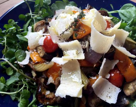 Thyme Roasted Vegetable Salad with Parmesan Shavings - SCD, Paleo, Grain-Free, Gluten-Free, Vegetarian, Sugar-Free