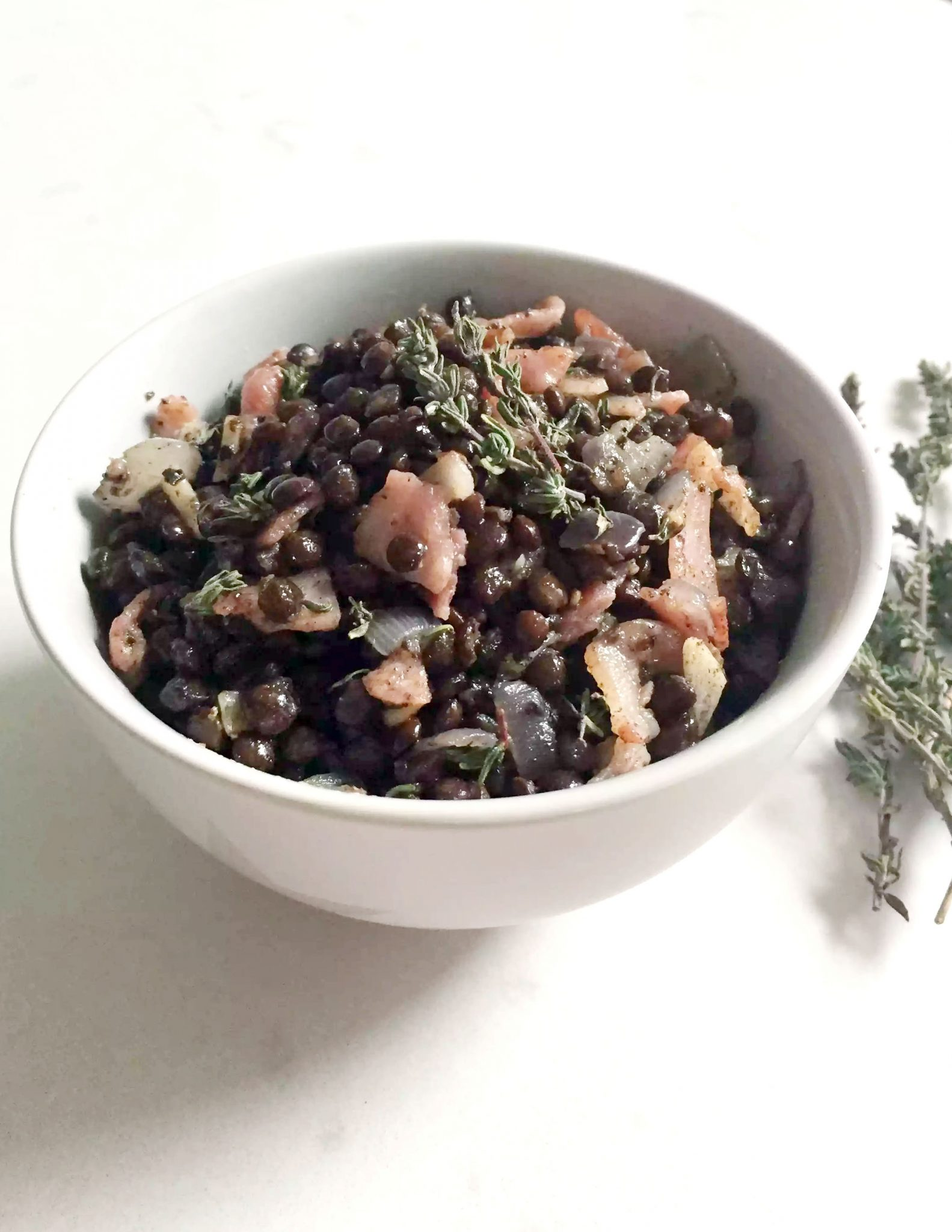 Warm Lentil Bacon Salad with Shallots & Fresh Thyme