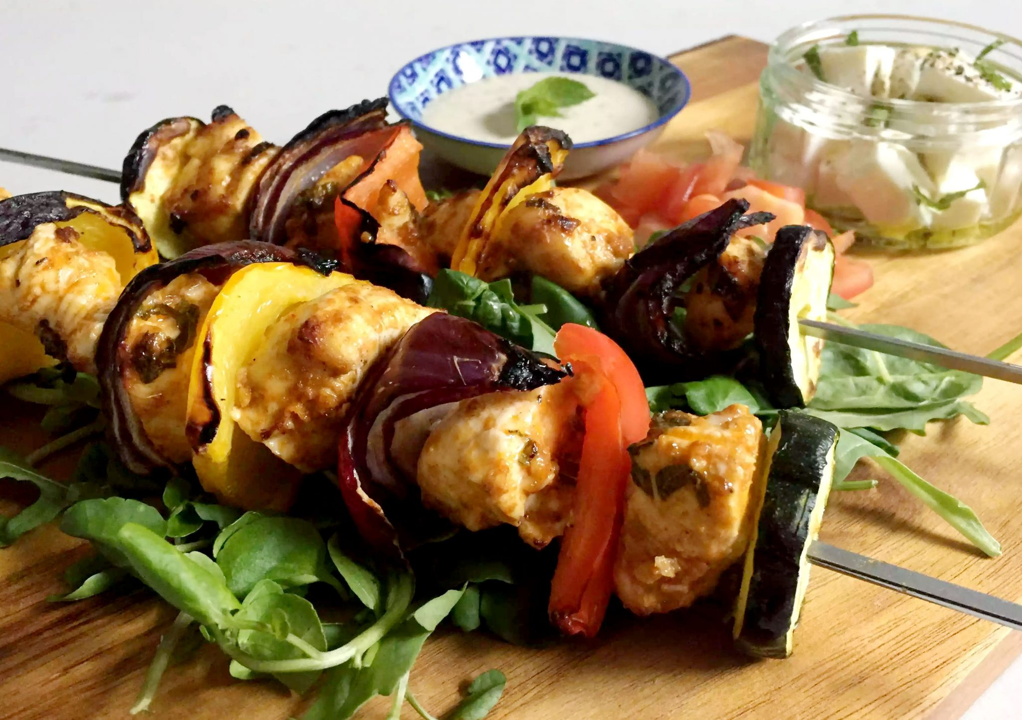 Grilled Moroccan Chicken Skewers with Tahini Sauce