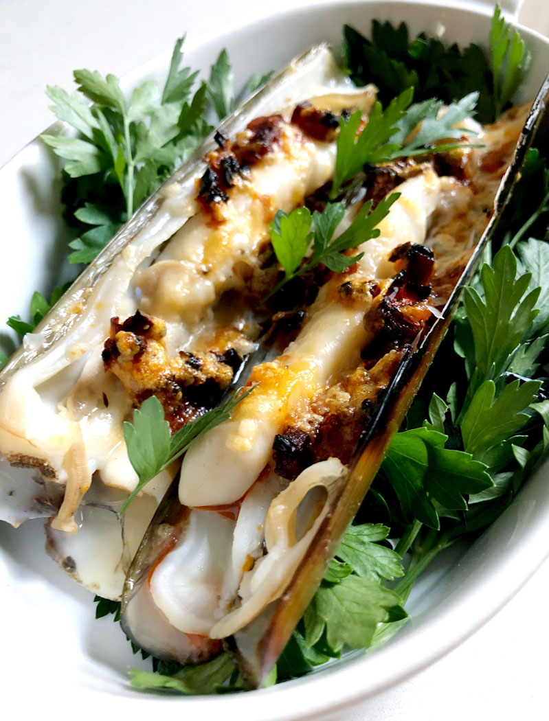 Gratinated Razor Clams with Parmesan & Chorizo