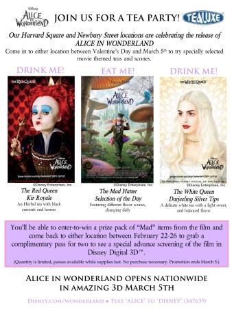 This flyer was distributed to promote a Tea Party in support of the ALICE IN WONDERLAND Release