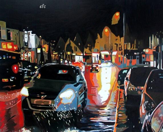 Contemporary Night time scene of rainy road