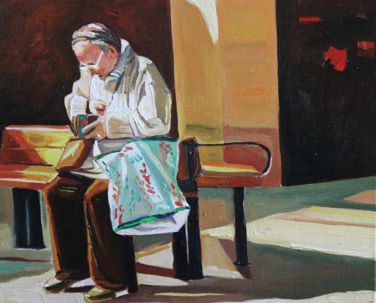 Oil painting of woman waiting for the bus.