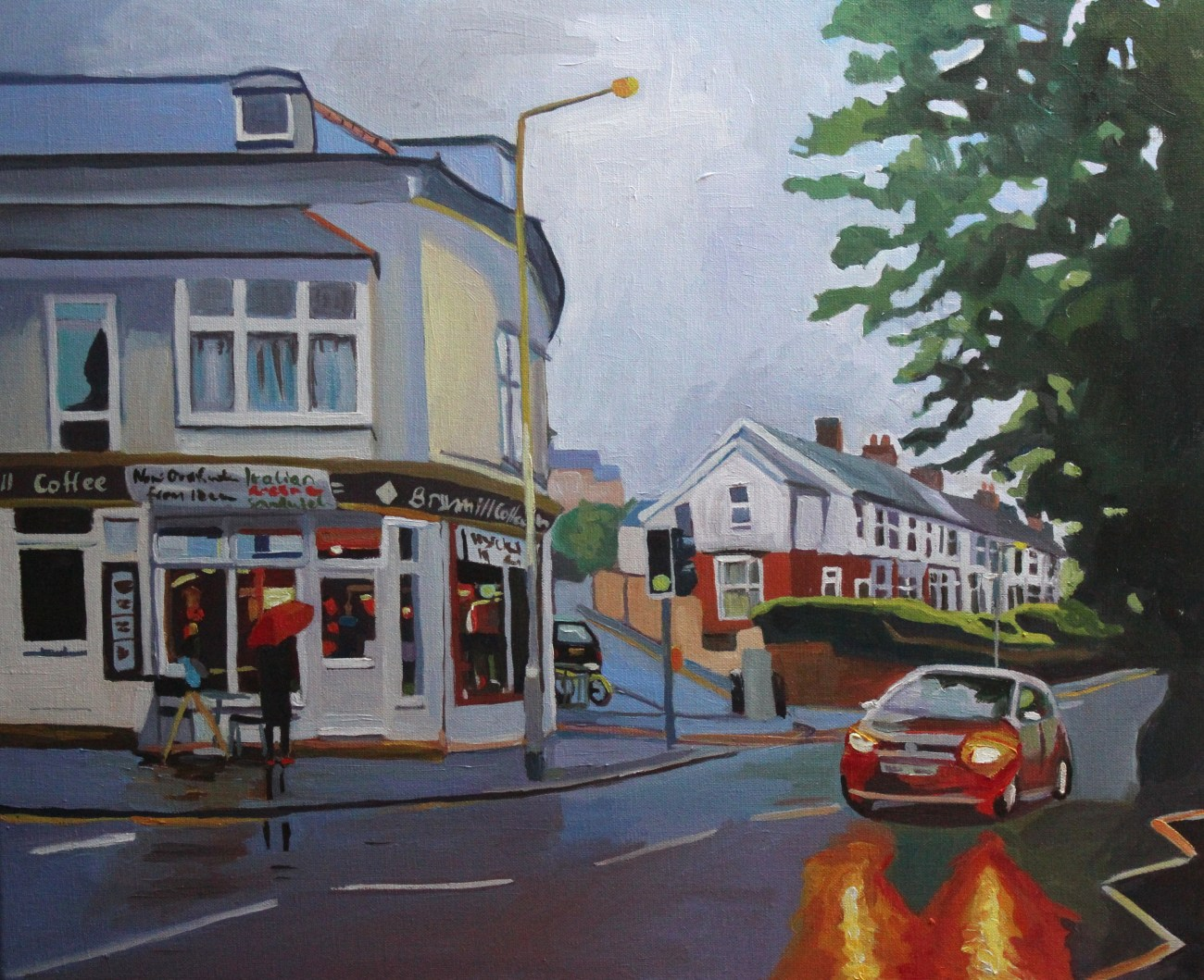 Summer Rain - Brynmill Coffee House in evening rain 60x50cm