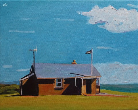 Painting Worms Head Station, Rhossili