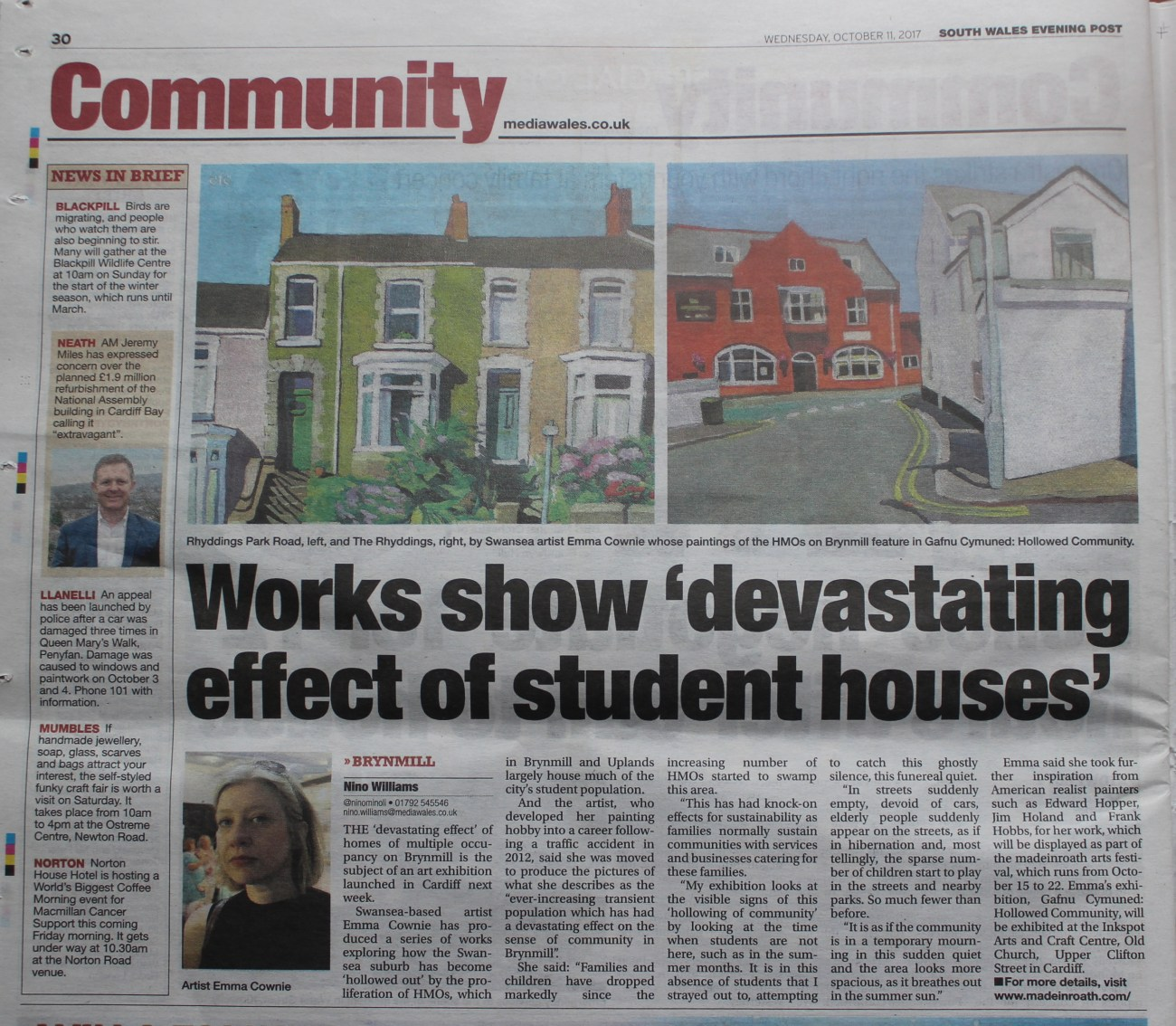 Evening Post ARTICLE 11th Oct 2017