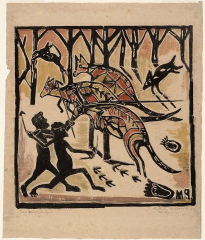 Artist : Margaret Preston (Australia, b.1875, d.1963) Title : Date : (circa 1957) Medium Description: colour woodcut on tan laid Japanese paper Dimensions : Credit Line : Bequest of W.G. Preston, the artist's widower 1977 Image Credit Line : Accession Number : 207.1977