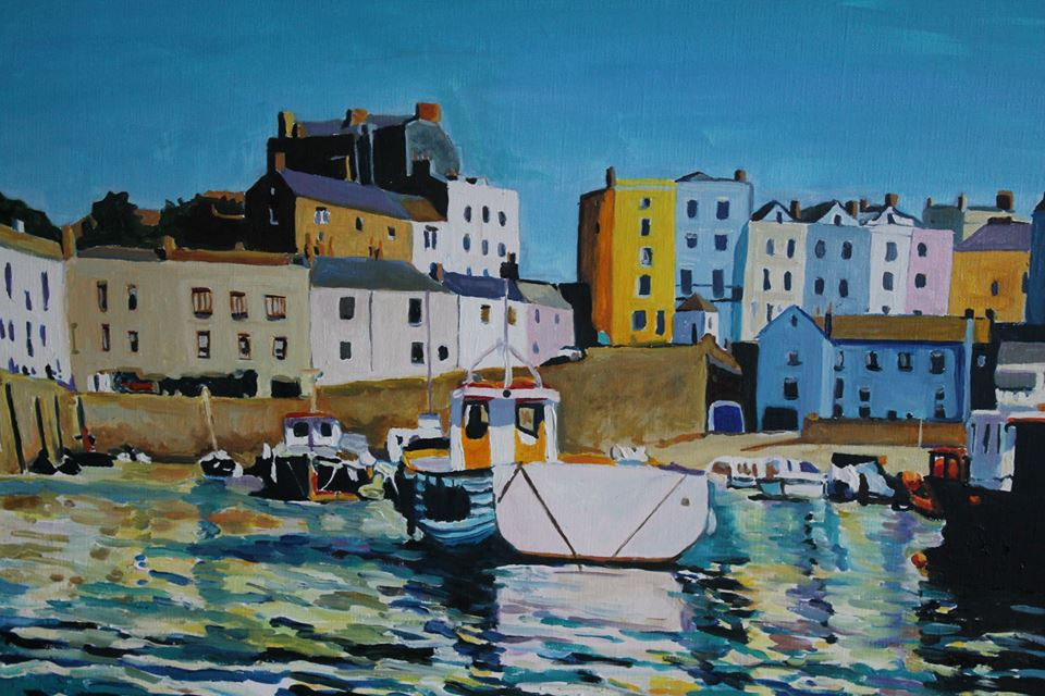 Painting of Tenby Harbour at high tide