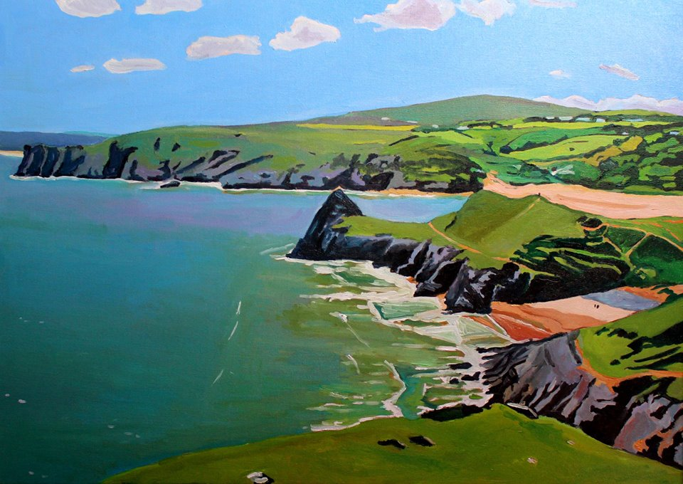 Painting of Three Cliffs and Pobbles, Gower