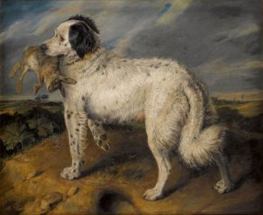 Sir_Edwin_Henry_Landseer_-_The_Champion-_Venus,_a_Landseer_Newfoundland_with_a_rabbit,_45.5_by_55.5_in_(116_by_141_cm)