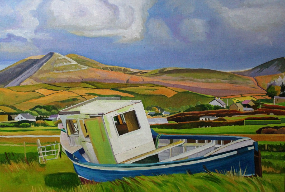 Painting of boat by Donegal mountains