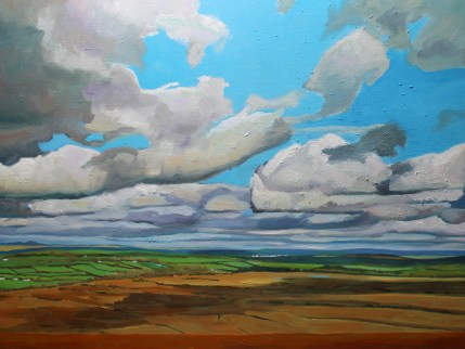 Painting of cloudscape and view of Brecon Beacons
