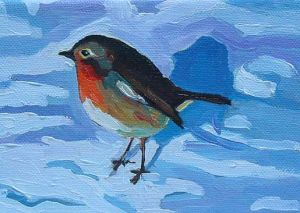 Painting of a robin in snow