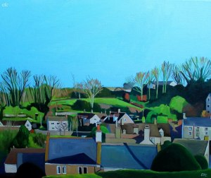 Painting of Cotswold village