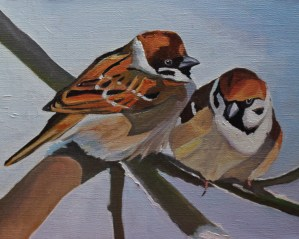 Painting of two Sparrows in Winter