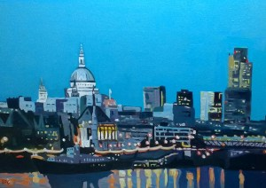 Painting of London by the Thames