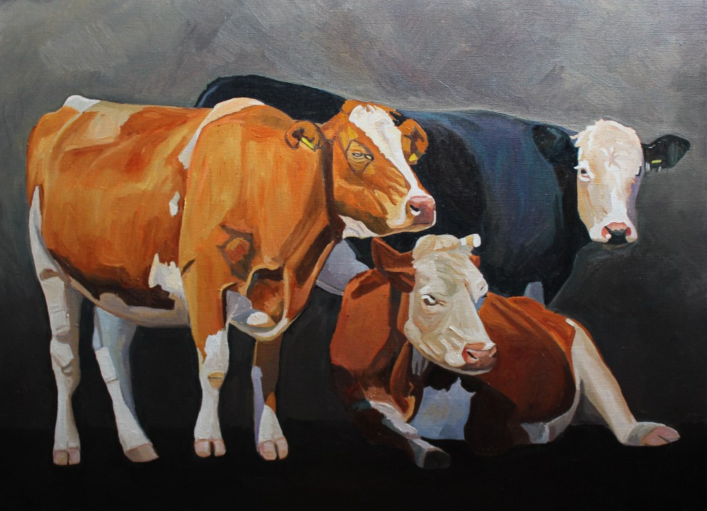 Painting of three cows