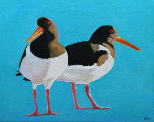 Painting of oystercatchers