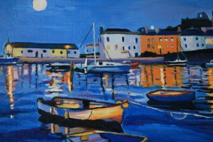 Painting of Tenby Harbour at Night
