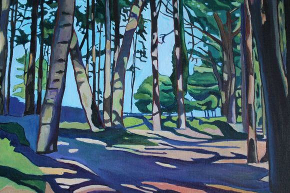 Oil painting of Wood at Whitford Sands Gower