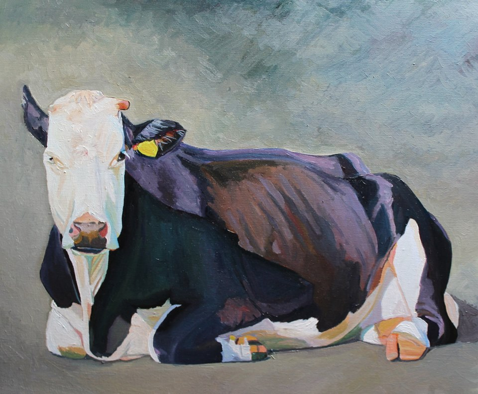 The Sitting, an oil painting of a black and white cow
