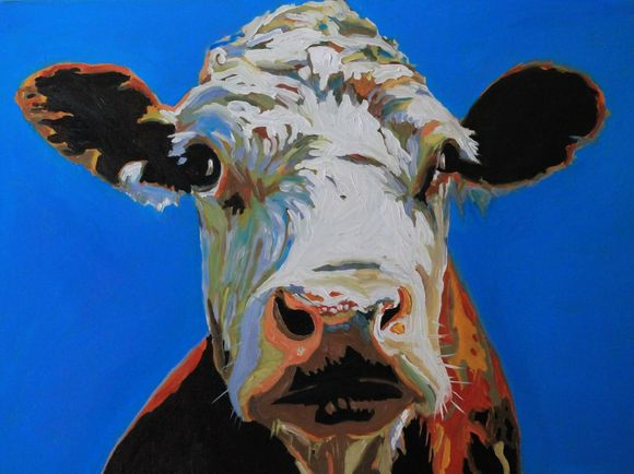 Oil painting of Hereford Cow by Emma Cownie