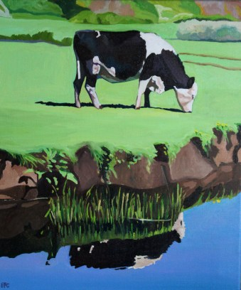 Painting of Cow at Pwll Du, Gower