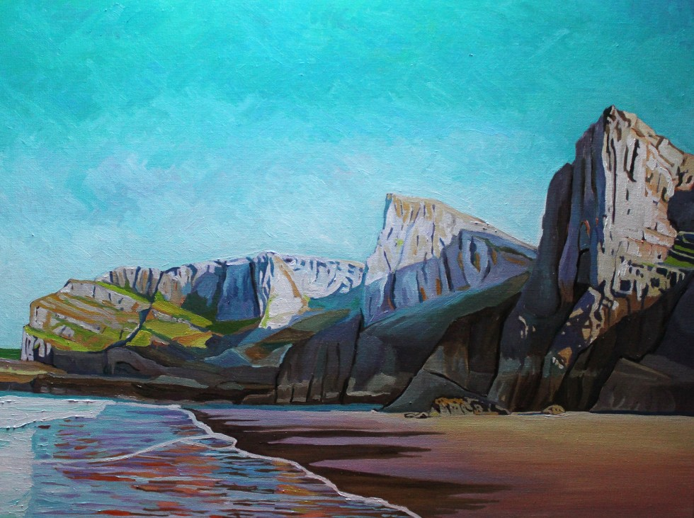 Oil Painting of Mewslade Bay, Gower
