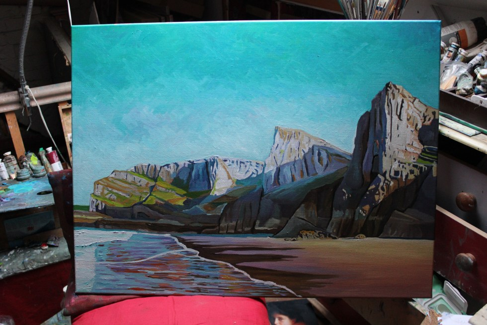 Painting of Mewslade Gower South Wales