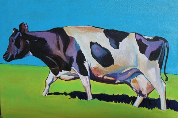 Painting of black and white cow by Emma Cownie