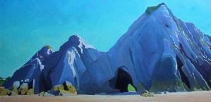 purple shadow on three cliffs