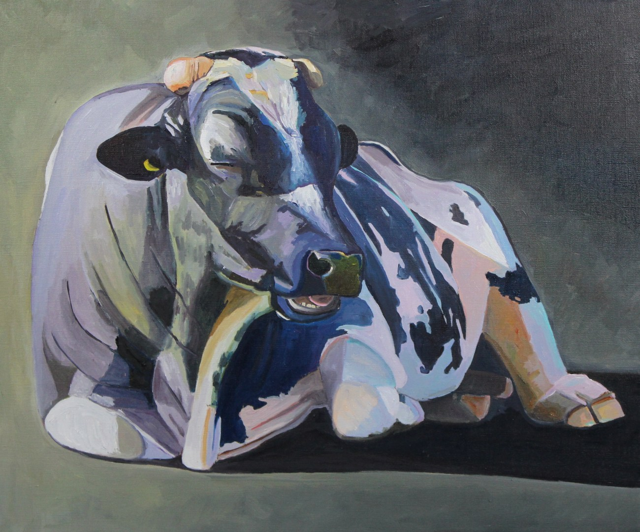 Oil painting of a Gower Bull by Emma Cownie