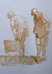 Painting of couple on the beach
