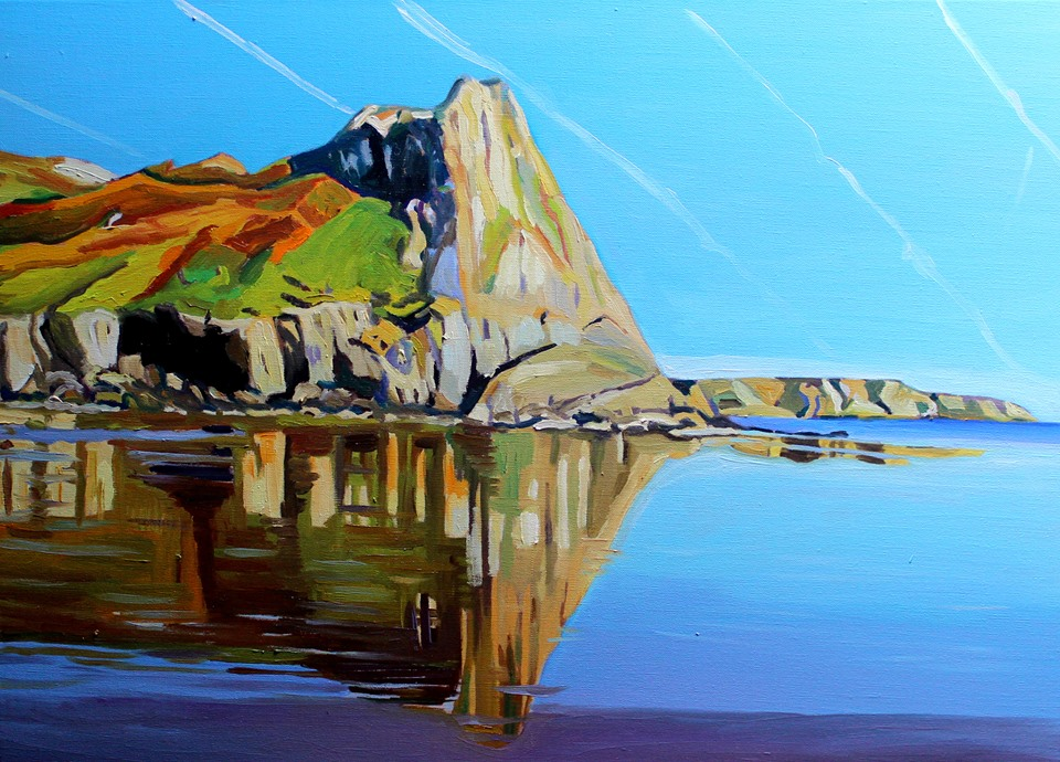 Oil painting of Tor Bay , Gower by Emma Cownie