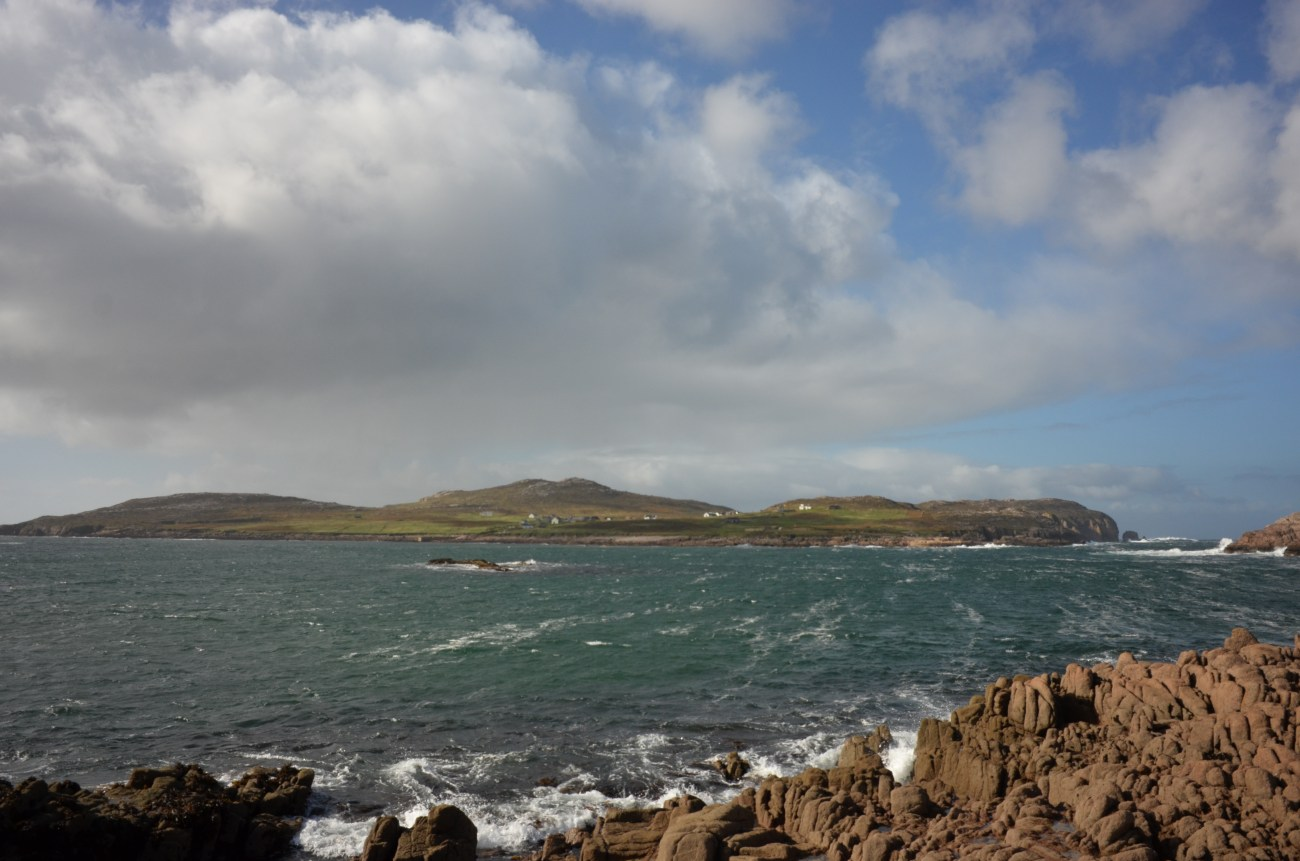 View across the sea to Owey Island